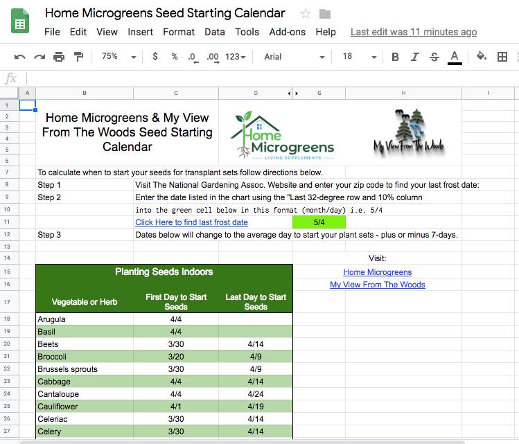 seed planting spreadsheet
