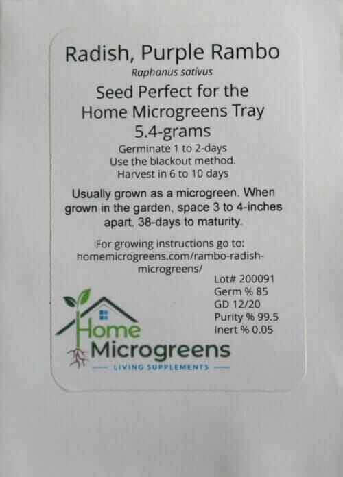 home microgreens seed packet